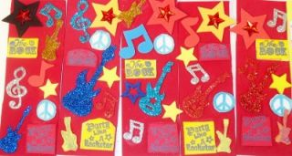 New 20 Rock Star Guitar Music Bookmarks Party Favors