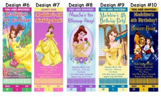Belle Beauty and The Beast Birthday Party Ticket Invitations Supplies Favors