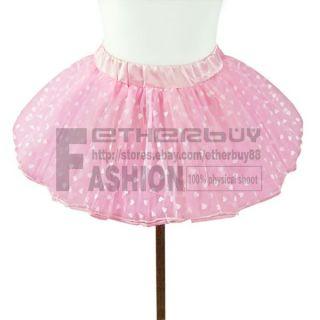 Girls Kids Pink Heart Tutu Skirt Pettiskirt Ballet Dance Dress 2 7 Years Costume