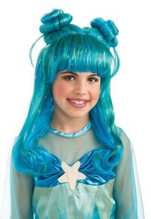 Girls Little Magical Mermaid Blue Green Dress Up Costume Wig Princess Child