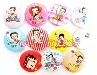 Wholesale 10 Pieces 1080 Pcs Betty Boop Rounded Buttons Badges Pin Party Gift
