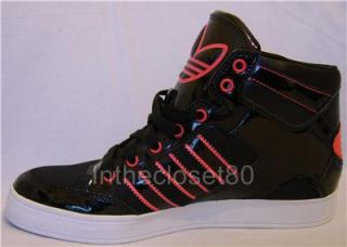 New Adidas Hard Court Hi Big Logo Womens Trainers Black Poppy Red