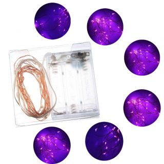 Hot 4 5V 2M 20LEDS Battery Operated Purple LED Copper Wire String Fairy Lights