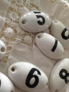French Vintage Inspired Simple Ceramic Number Tags Oval White Black Choose 0 9