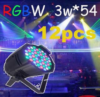 12pcs 3W 54 RGBW LED Par 64 LED Stage Light Double Yokes for DJ Club KTV
