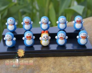 New 10pcs Doraemon Tumbler Figure Set