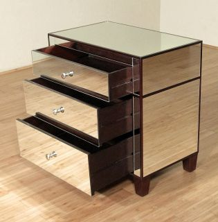 Solid Mahogany Mirrored Art Deco Nightstand Bedside Side Table MD001BP