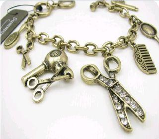 Vintage Rhinestone Hair Drier Scissors Comb Bracelet