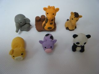 1 x Iwako Kawaii Animals Sport Kokeshi Doll Puzzle Japanese Erasers Blister Card