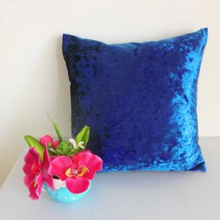Electric Blue Crushed Stretchy Velvet Style Cushion Cover Custom Size U60CC 352