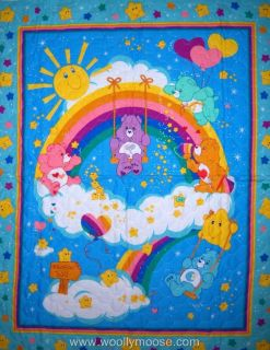 Care Bears Children Stars Rainbow Quilted Fabric Panel