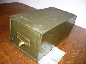 Vintage Industrial Army Green Metal Index File Cabinet Storage Bin Van Dorn