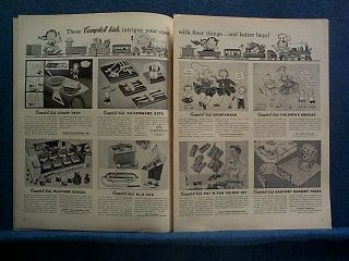 1955 5 Page Ad Campbell Kids Dolls Toys Clothes Games Cookware Skates Ect