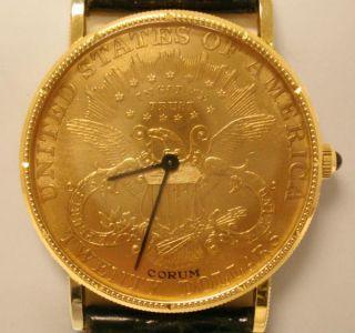 Men's $20 Gold Coin Corum Watch Manual Wind