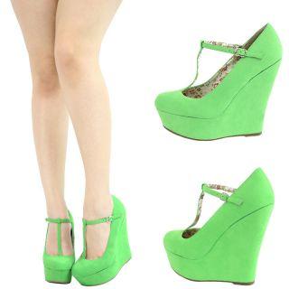 Apple Green Round Toe T Strap Mary Jane High Heel Platform Wedge Pump Sandal 8 5