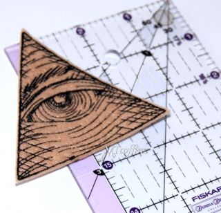 Eye of Providence Pyramid Tan Triangle Iron on Embroidered Patch Mtcoffinz