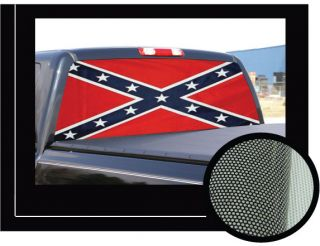"Dixie Rebel Flag 22"" X65"" Rear Window Graphic Confederate Truck View thru Vinyl"