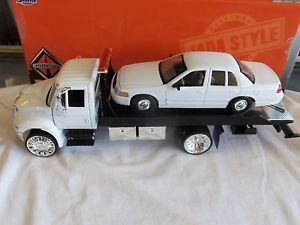 Jada 1 24 International Durastar 4400 Flatbed Tow Truck Custom Wheels White Cab