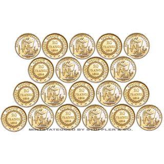 Lot of 20 Choice BU 20 Franc Gold French Angels 1876 1898 European Bullion Coins