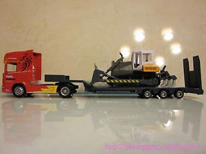 1 64 Scania Flatbed Trailer with Bulldozer Diecast Toy