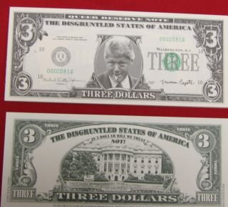 Bill Clinton Fantasy 3 Dollar Bill