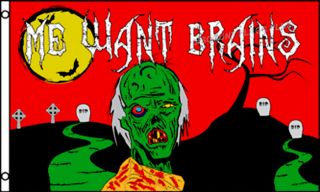 Halloween Zombie Walking Dead Me Want Brains Large New Poly 3x5 Banner Sign Flag