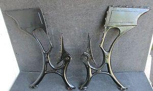 Antique Cast Iron Folding Seat School Desk Table Legs Machine Age