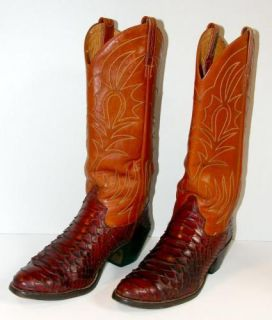 Vintage Womens Dan Post Snakeskin Brown Leather Western Cowboy Cowgirl Boots 6 5