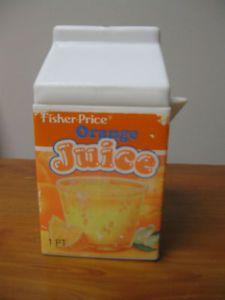 Fisher Price Fun with Food Orange Juice Container Box Carton OJ Breakfast Drink