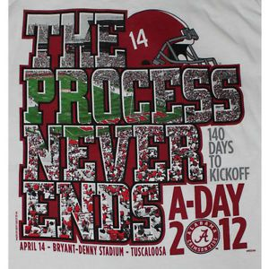 Alabama Crimson Tide Football T Shirts A Day Game 2012 The Process Never Ends