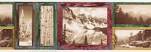 2 Rolls Landscape Picture Prints Rustic Wood Frames Lodge Cabin Wallpaper Border