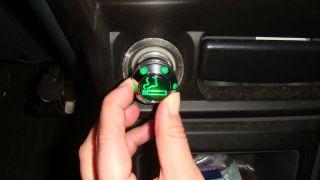 Car European Auto Chrome Adapter Cigar Plug Cigarette Lighter Green LED Light