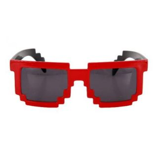 Red 8 Bit Pixel Costume Glasses Computer Video Game Geek Nerd Cosplay New