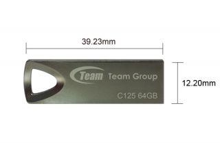 Team C125 64GB 64G Memory USB Flash Pen Thumb Drive Stick Metal Chain Ultra Slim