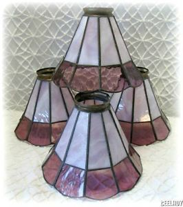 Vintage Set of 4 Stained Glass Lamp Chandelier Ceiling Fan Shades Globes