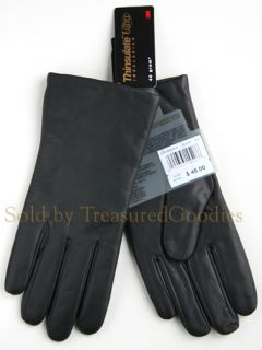Isotoner Size 8 Black Leather Thinsulate Lined Gloves Ladies Women's New