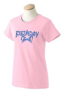 Ladies Birthday Girl T Shirt Fun Sexy Party Girl Special Day Glitter Tees XS 3XL