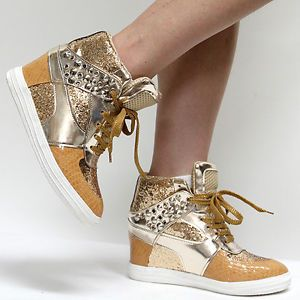 Woman Gold Sequin Sparkle Glitter Sneakers Studded Spike High Top