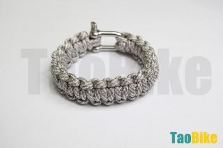 New 550 Paracord Survival Bracelet U Bow Shape Steel Shackle Gray Camo