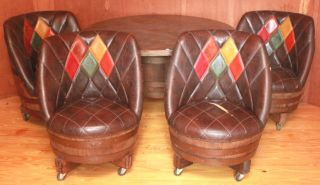 ... WHISKEY BARREL POKER TABLE WITH FOUR WHISKEY BARREL LEATHER CHAIRS ...