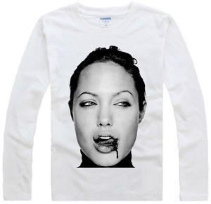 Angelina Jolie Fight Design Art cele Graphic Long Sleeve White T Shirt
