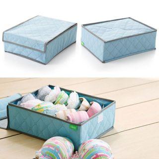 Blue 7 Cell Panty Underwear Bras Drawer Closet Organizer Storage Box Case