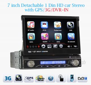 "7"" 1Din in Dash Car Stereo Radio DVD RDS FM GPS Player Digital TV Rear Camera"
