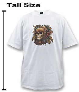 Big and Tall Tee Shirt Aztec Warrior Skull Graphic Design T Shirt Tshirt