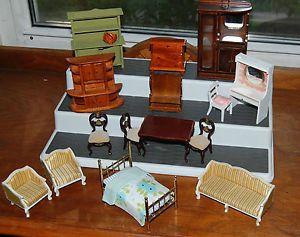 ... Huge Lot Vintage Dollhouse Furniture Miniature 1 24 Half Inch Scale  Room Bedroom ...