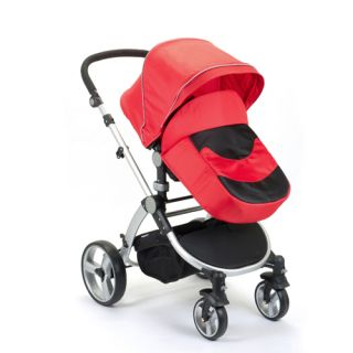 New Mamakiddies Black Red Baby Travel System Baby Stroller Carrycot Push Chair
