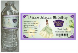 20 Princess and The Frog Princess Tiana Birthday Party Water Bottle Labels