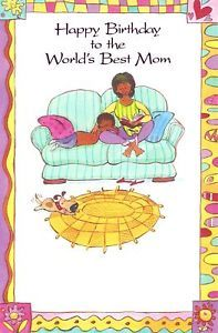Happy Birthday to The World's Best Mom Greeting Card African Black American