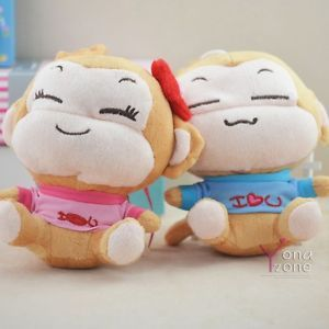 Lovely Couple Smiling Monkey Plush Toys Cute Stuffed Animal Dolls Charm for Kids
