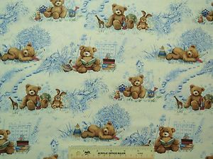 Teddy Bears Baby Nursery Toile Toys Kids Boys Blue Cotton Fabric BTY L